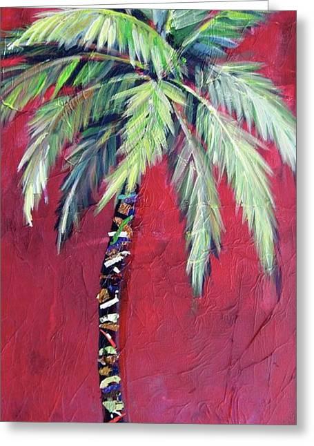 Maroon Palm Tree Greeting Card