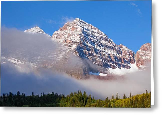 Maroon Peak Lifting Fog Greeting Card by Darren  White