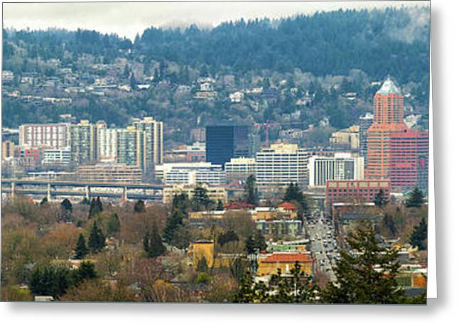 Marquam Bridge By Portland City Skyline Panorama Greeting Card by David Gn