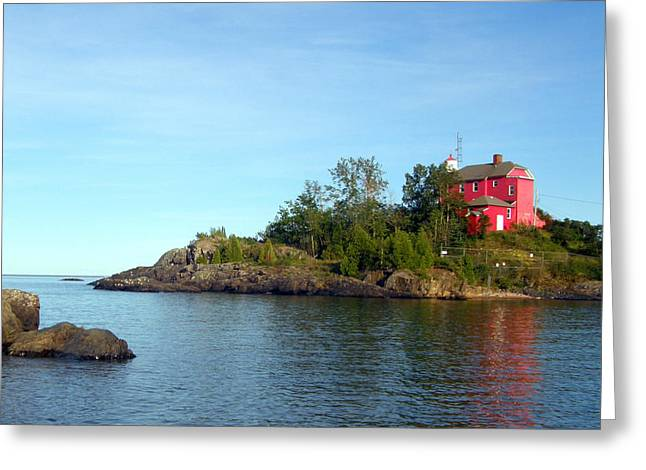 Greeting Card featuring the photograph Marquette Harbor Lighthouse Reflection by Mark J Seefeldt