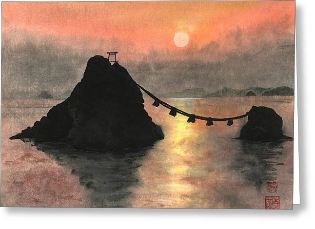 Married Couple Rocks At Sunset Greeting Card