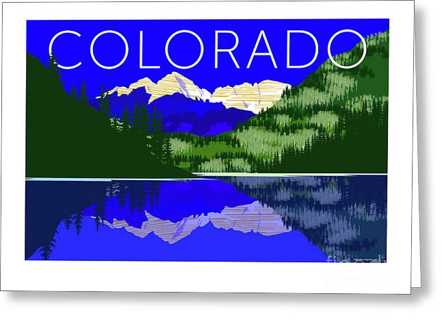 Greeting Card featuring the digital art Maroon Bells Day by Sam Brennan