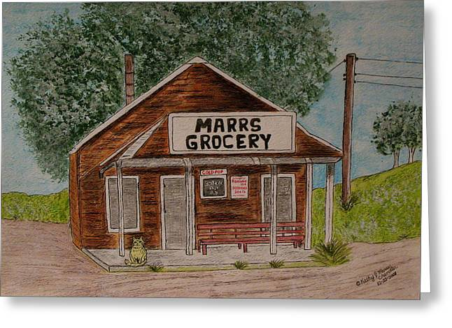 Greeting Card featuring the painting Marrs Country Grocery Store by Kathy Marrs Chandler