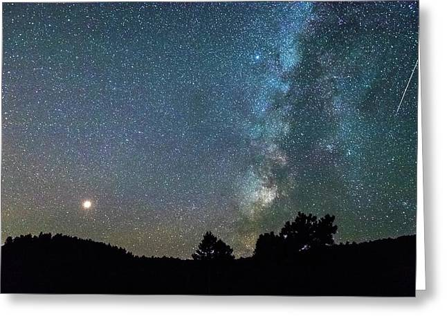 Greeting Card featuring the photograph Mars - Perseid Meteor - Milky Way by James BO Insogna