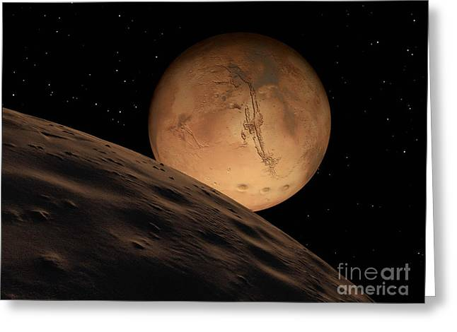 Mars Seen From Its Outer Moon, Deimos Greeting Card by Ron Miller