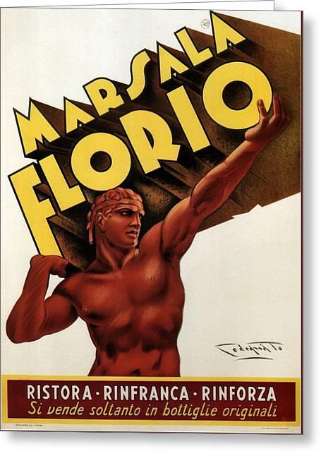 Marsala Florio - Sicily, Italy - Vintage Poster Greeting Card