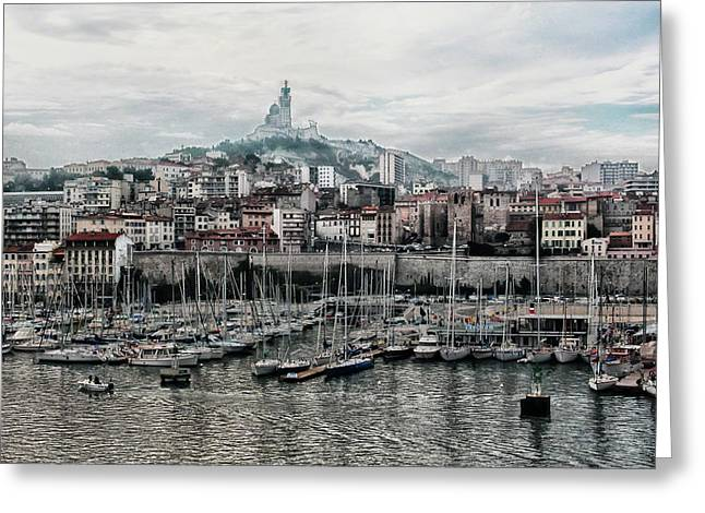 Marseilles France Harbor Greeting Card by Alan Toepfer
