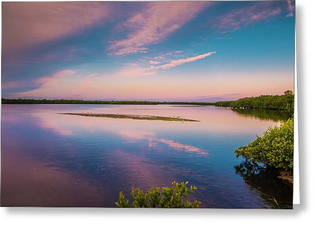 Greeting Card featuring the photograph Marsh At Sunrise by Steven Ainsworth