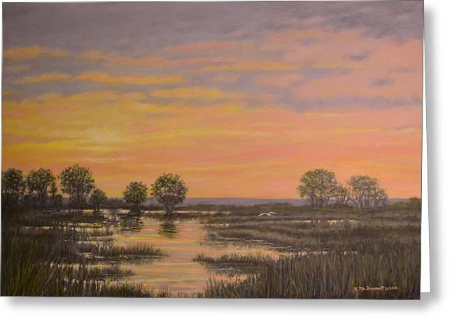 Marsh At Sunset Greeting Card by Kathleen McDermott