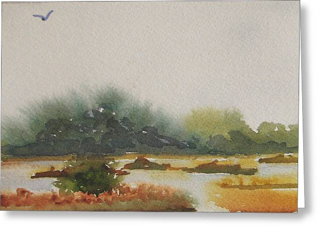 Marsh Beyond Number Four Bridge Greeting Card by Libby  Cagle