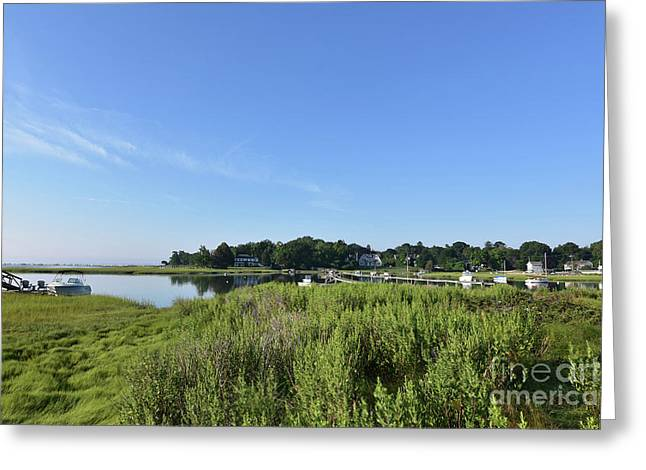 Marsh Grass Surrounding Duxbury Bay In Southeastern Massachusett Greeting Card by DejaVu Designs