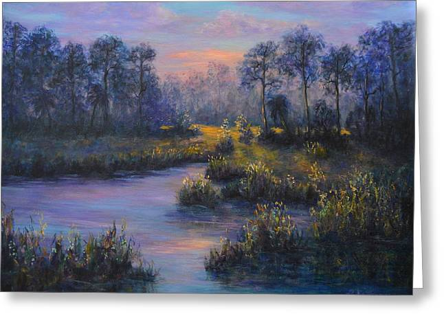 Marsh Sunset Nature Wetland Trees Print Of Panting Greeting Card