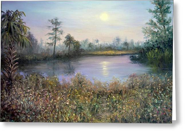 Marsh Wetland Moon Landscape Painting Greeting Card