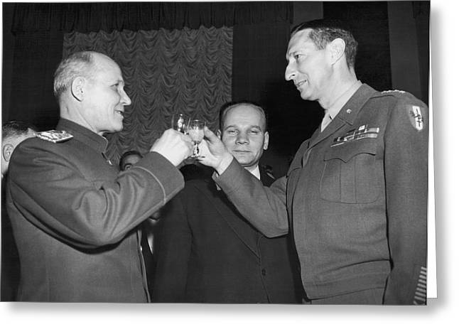 Marshall Koniev And Gen. Clark Greeting Card by Underwood Archives