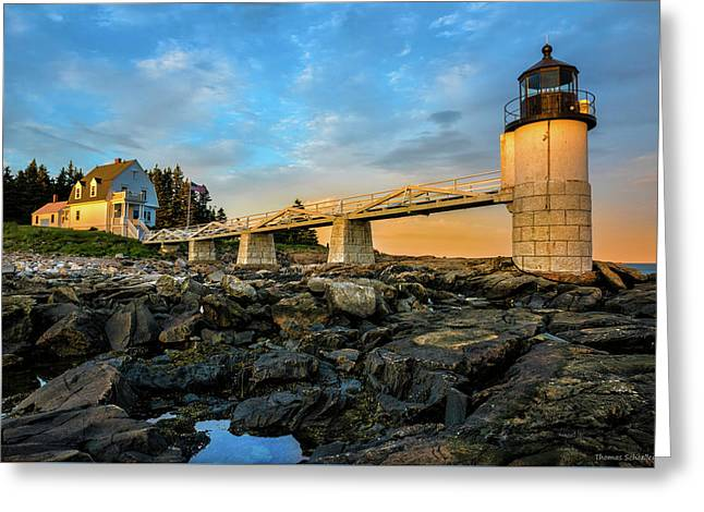 Marshall Point Light Aglow Greeting Card