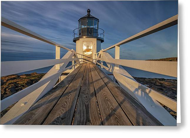 Marshall Point Lighthouse At Sunrise Greeting Card