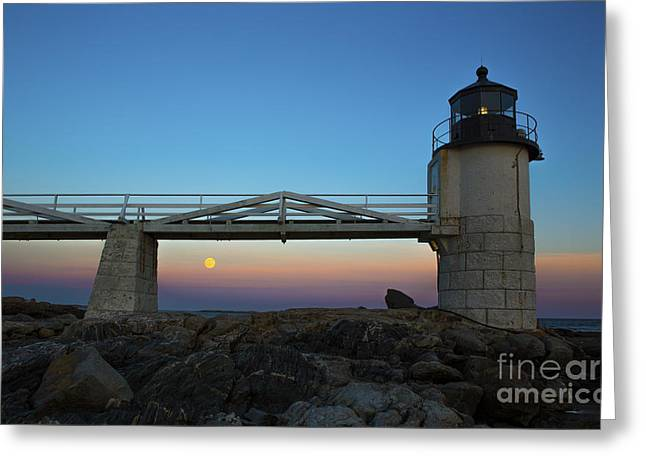 Marshall Point Lighthouse With Full Moon Greeting Card by Diane Diederich