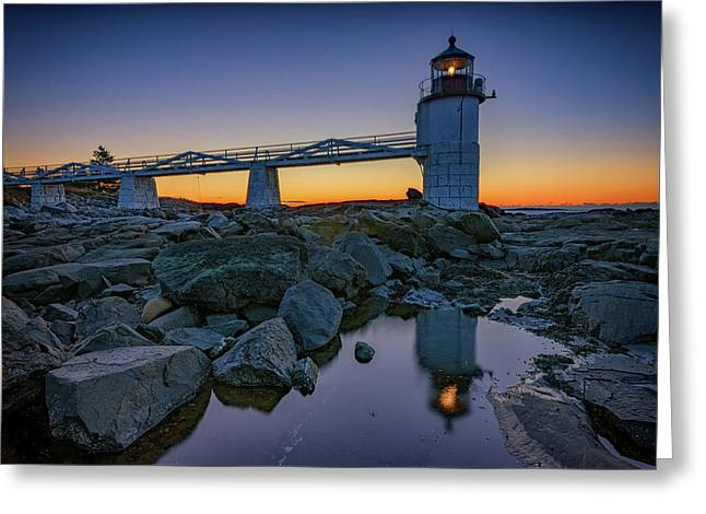 Marshall Point Reflection Greeting Card by Rick Berk
