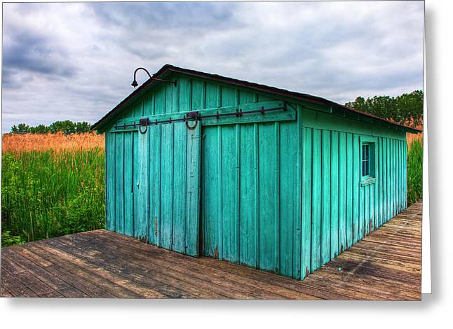 Marshland Boathouse Greeting Card by James Marvin Phelps
