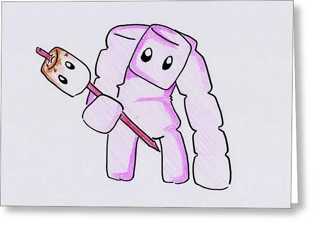 Marshmallow Golem Greeting Card by Quinisha Carpenter