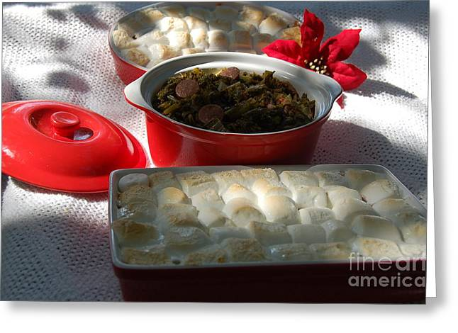 Marshmellow Covered Candied Yams And Southern Greens Greeting Card