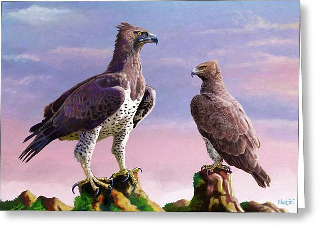 Martial Eagles Greeting Card
