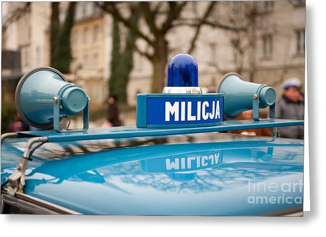 Martial Law Militia Blue Car Detail Greeting Card by Arletta Cwalina