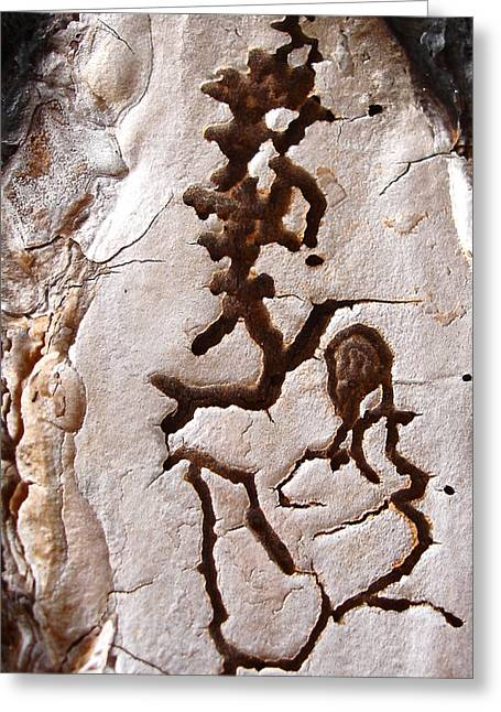 Martian Dance - Tree Bark Art Greeting Card
