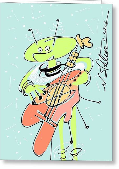 Martian Musician Greeting Card by Nicole Slater