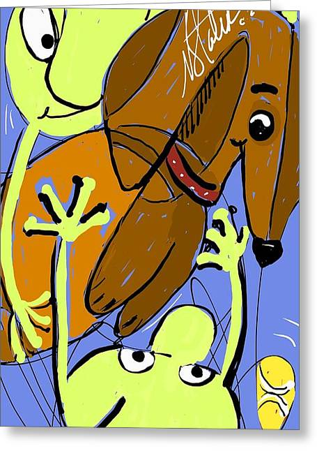 Martians Best Friend Greeting Card by Nicole Slater
