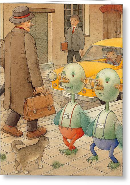 Martians Greeting Card by Kestutis Kasparavicius