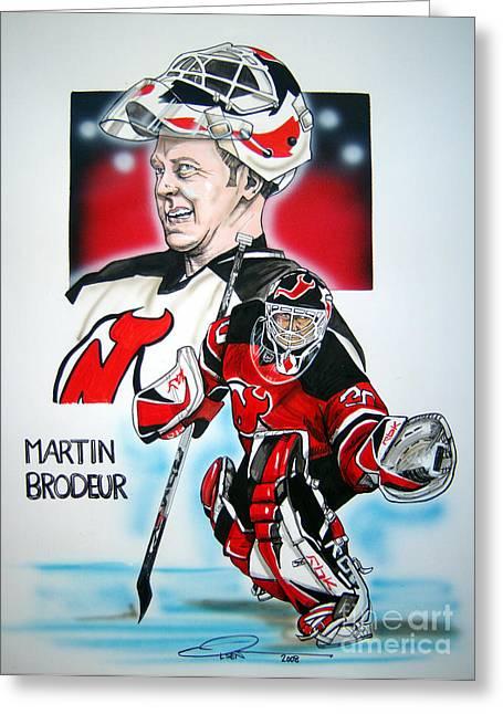 Martin Brodeur Greeting Card by Dave Olsen