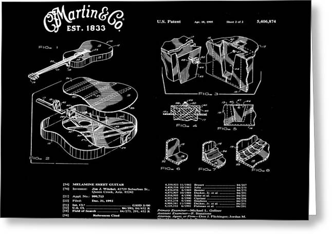 Martin Guitar Patent Dx1 1995 Black Greeting Card by Bill Cannon