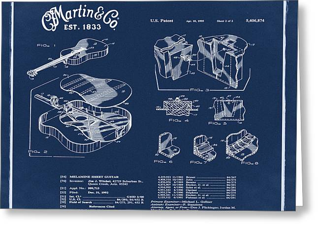 Martin Guitar Patent Dx1 1995 Blue Greeting Card by Bill Cannon