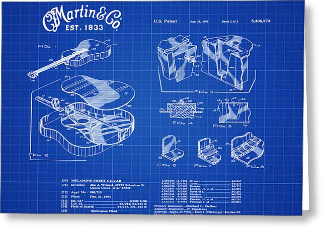 Martin Guitar Patent Dx1 1995 Blue Print Greeting Card by Bill Cannon