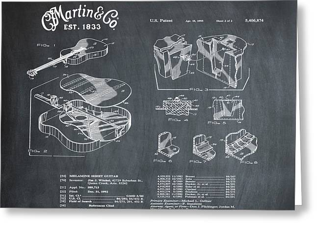 Martin Guitar Patent Dx1 1995 Chalk Greeting Card by Bill Cannon