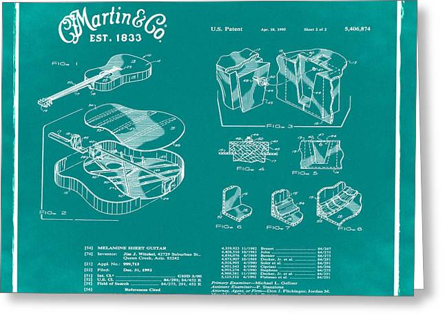 Martin Guitar Patent Dx1 1995 Green Greeting Card by Bill Cannon