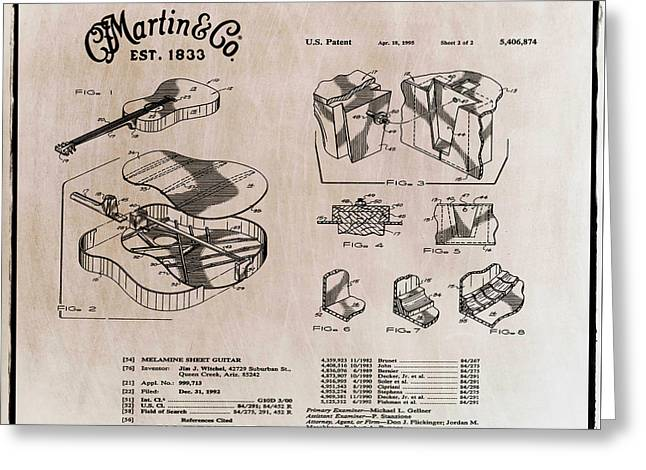 Martin Guitar Patent Dx1 1995 Light Sepia Greeting Card by Bill Cannon
