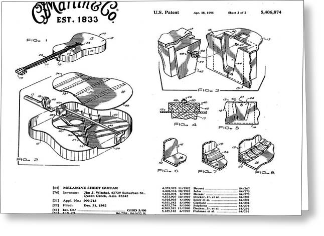 Martin Guitar Patent Dx1 1995 White Greeting Card by Bill Cannon