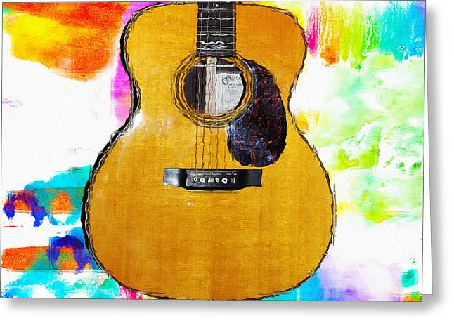 Martin Guitar Watercolor Bg Greeting Card by Bill Cannon