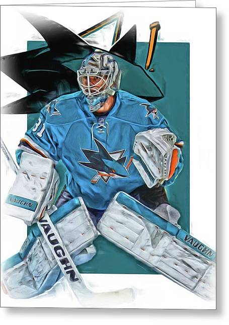 Martin Jones San Jose Sharks Oil Art Greeting Card