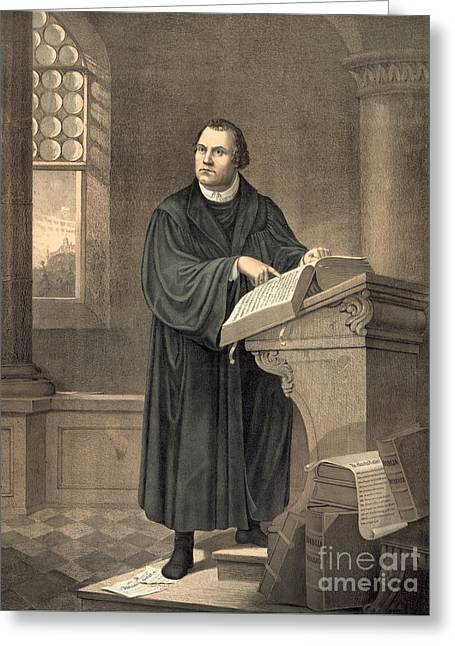 Martin Luther In His Study Greeting Card by American School