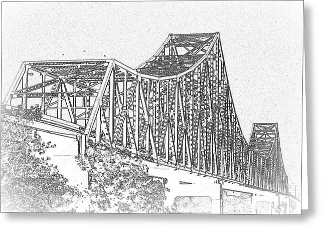 Martin Luther King Bridge Line Art Bw Greeting Card