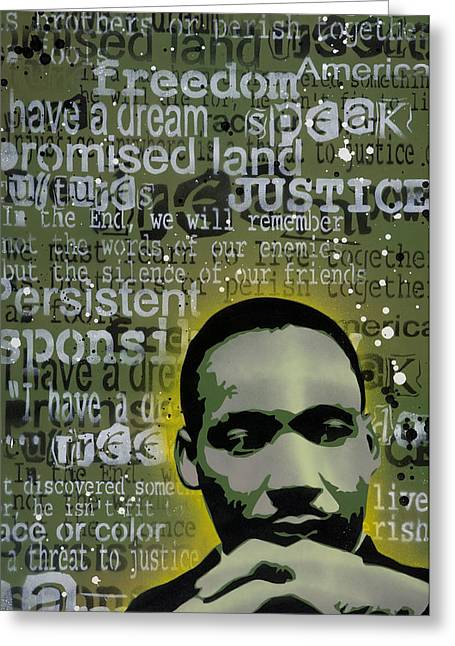 Stencil Spray Greeting Cards - Martin Luther King Greeting Card by Iosua Tai Taeoalii
