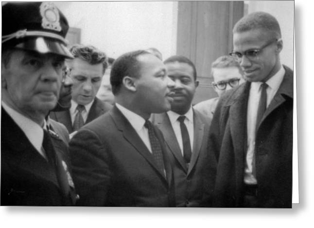 Martin Luther King Jnr And Malcolm X Greeting Card by American School