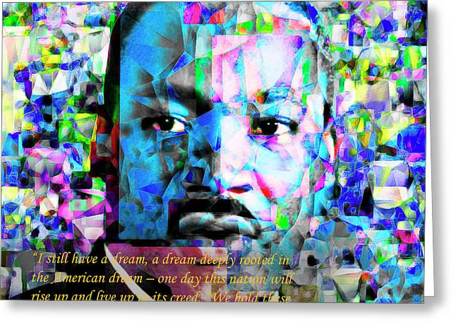 Martin Luther King Jr In Abstract Cubism 20170401 Text Greeting Card by Wingsdomain Art and Photography