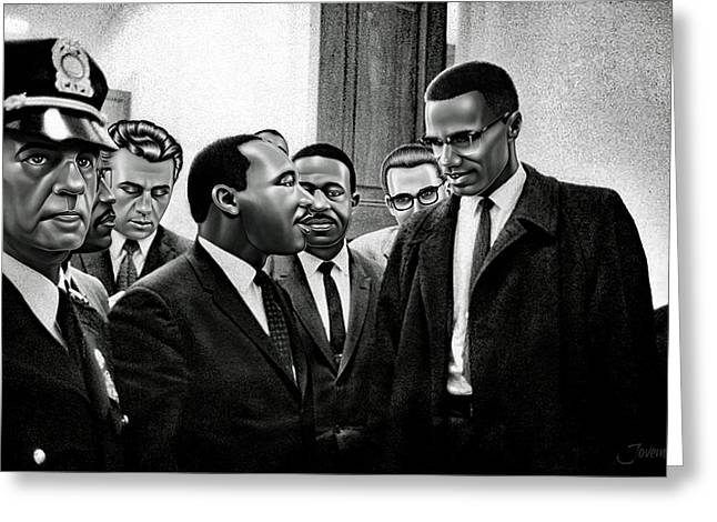 Martin Luther King Jr. Meets Malcolm X Painting In Hd Greeting Card by Jovemini ART