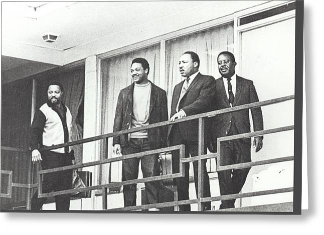 Martin Luther King Standing On The Balcony Of The Memphis Hotel Greeting Card by American School