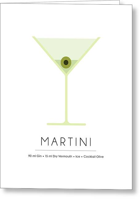 Martini Classic Cocktail - Minimalist Print Greeting Card