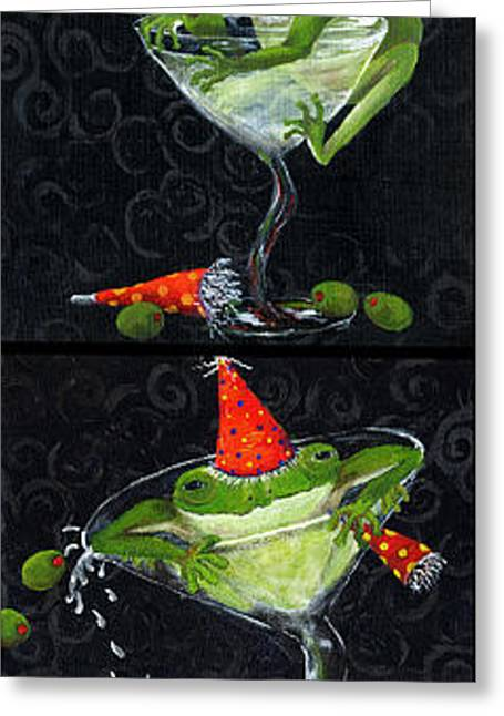 Glass Wall Greeting Cards - Martini Frogs Greeting Card by Debbie McCulley
